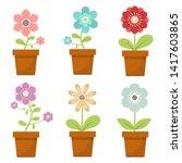 Home Flower In Pot Vector...