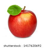 fresh juicy red apple with leaf ... | Shutterstock . vector #1417620692