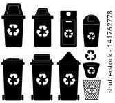 recycle bin  silhouette vector  | Shutterstock .eps vector #141762778