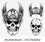 warrior skull | Shutterstock .eps vector #141763642