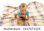 a curious little one. cute baby ... | Shutterstock . vector #1417671125