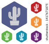 tall cactus icon. simple... | Shutterstock .eps vector #1417671875