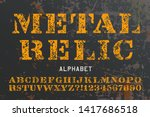 A stencil alphabet in the style of military relics, with heavy grunge effects.