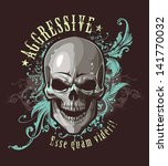 grunge image with skull and... | Shutterstock .eps vector #141770032