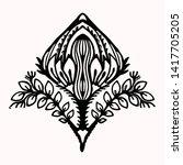 ornamental flower folk art...   Shutterstock .eps vector #1417705205