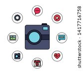 photographic camera with...   Shutterstock .eps vector #1417716758
