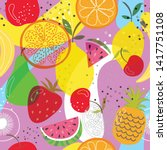 seamless background with fruit... | Shutterstock .eps vector #1417751108