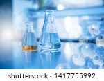 two glass flask in chemical... | Shutterstock . vector #1417755992