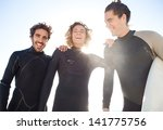 portrait of three young surfers ... | Shutterstock . vector #141775756