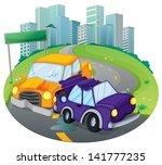 illustration of a car crash at... | Shutterstock .eps vector #141777235