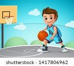 kid playing basketball vector... | Shutterstock .eps vector #1417806962