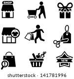 vector black shopping icons set | Shutterstock .eps vector #141781996