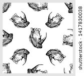 seamless pattern of hand drawn... | Shutterstock .eps vector #1417830038