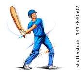 illustration of batsman playing ... | Shutterstock .eps vector #1417840502