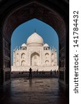 taj mahal in india in backlight ... | Shutterstock . vector #141784432