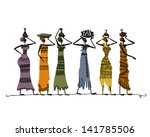 Sketch Of Ethnic Women With...