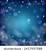 blue realistic snowfall  vector.... | Shutterstock .eps vector #1417937588