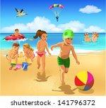 children playing on the beach | Shutterstock .eps vector #141796372