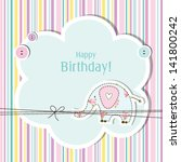 baby girl  shower birthday card ... | Shutterstock .eps vector #141800242