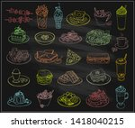 assorted dishes food symbols on ...   Shutterstock .eps vector #1418040215