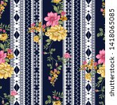 seamless flower border on navy | Shutterstock .eps vector #1418065085