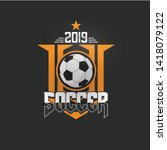 soccer football badge orange... | Shutterstock .eps vector #1418079122