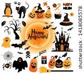 Halloween icons set. Halloween background autumn illustration of cheerful pumpkins.