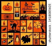 halloween icons set. halloween... | Shutterstock . vector #1418085605