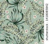 tropical palm leaves  plumeria... | Shutterstock .eps vector #1418085842