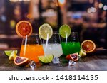 tropical summer cocktails on a... | Shutterstock . vector #1418114135