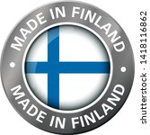 made in finland flag metal icon  | Shutterstock .eps vector #1418116862