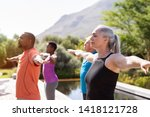 group of senior people with... | Shutterstock . vector #1418121728