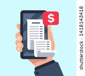 smartphone receipt bill.... | Shutterstock . vector #1418143418
