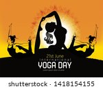 woman practicing yoga pose ... | Shutterstock .eps vector #1418154155