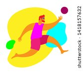 man on vacation plays ball | Shutterstock .eps vector #1418157632