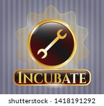 gold badge with wrench icon... | Shutterstock .eps vector #1418191292