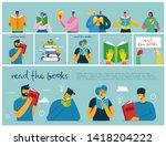 read the books. vector concept... | Shutterstock .eps vector #1418204222