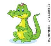 funny crocodile sitting.  in... | Shutterstock .eps vector #1418205578