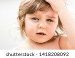 baby girl close portrait... | Shutterstock . vector #1418208092
