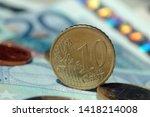 ten eurocent coin among other...   Shutterstock . vector #1418214008