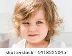 beautiful baby girl with deep... | Shutterstock . vector #1418225045