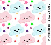 seamless pattern with cute... | Shutterstock .eps vector #1418254352