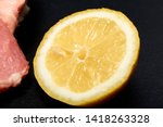 Half A Lemon Close Up. Lemon...