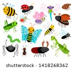 cartoon insects. cute insect... | Shutterstock . vector #1418268362