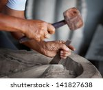 Hands Woodcarver While Working...