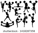 set of silhouette cheerleaders. ... | Shutterstock .eps vector #1418287358