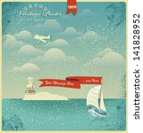 vintage seaside view poster.... | Shutterstock .eps vector #141828952
