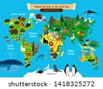 world map animals. europe and... | Shutterstock . vector #1418325272