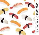 sushi pattern. japanese dishes... | Shutterstock .eps vector #1418328248