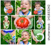 collage of images kids holding... | Shutterstock . vector #141833242